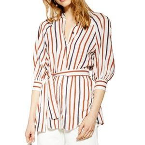 Topshop stripe tie waist puffy sleeve tunic top